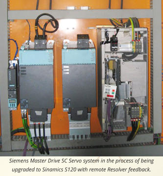 Siemens Master Drive SC Servo system in the process of being upgraded to Sinamics S120 with remote Resolver feedback.